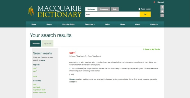 Screen grab of a Macquarie Dictionary definition for the word cum.